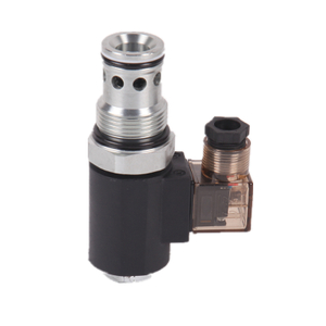 SV16-222 solenoid-operated, 2-way, normally closed, piloted poppet-type, screw-in hydraulic cartridge valve